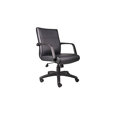 "Boss Office Products Bonded Leather Executive Mid-Back Chair, 48 1/2""H x 27""W x 27""D, Black"