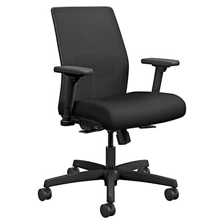 "HON Ignition Mesh Back Task Chair - Fabric Black Seat - Fabric Back - Black Frame - 5-star Base - 19"" Seat Width x 18"" Seat Depth - 26"" Width x 26.5"" Depth x 40.5"" Height"