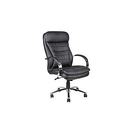 "Boss Office Products High-Back Executive Chair, 49""H x 27""W x 32 1/2""D, Chrome/Black Vinyl"