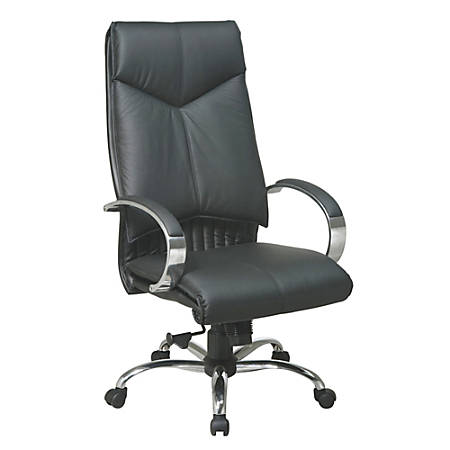 """Office Star™ Deluxe High-Back Leather Chair, 46 3/4""""H x 25 3/4""""W x 27 1/4""""D, Chrome Frame, Black Leather"""