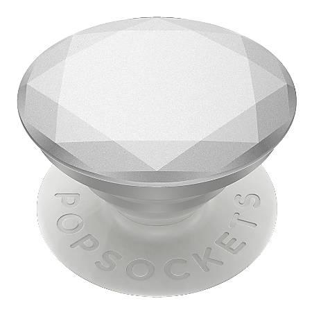 "PopSockets Phone Stand, 1.5""H x 1.5""W x 0.25""D, Metallic Diamond Silver"