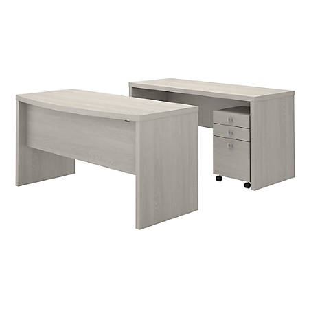 kathy ireland® Office by Bush Business Furniture Echo Bow Front Desk And Credenza With Mobile File Cabinet, Gray Sand, Premium Installation