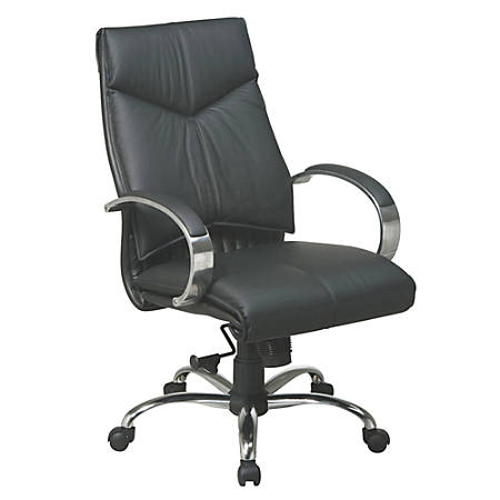 "Office Star™ Deluxe Mid-Back Leather Chair, 37 3/4""H x 25 3/4""W x ""D, Chrome Frame, Black Leather"