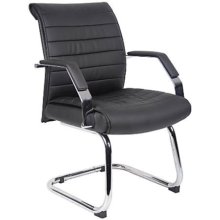 "Boss Ribbed Mid-Back Guest Chair, 36""H x 24""W x 26""D, Chrome/Black"
