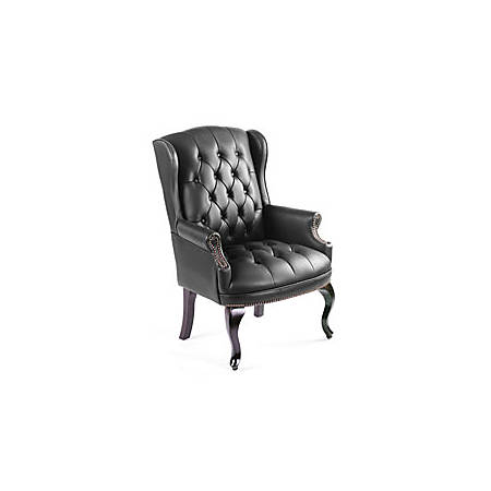 "Boss Office Products Traditional High-Back Executive Chair, 41 1/2""H x 29""W x 32""D, Mahogany Frame, Black Vinyl"