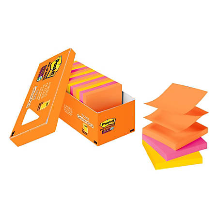 "Post it® Super Sticky Pop up Notes, 3"" x 3"", Rio de Janeiro, Pack Of 18 Pads"