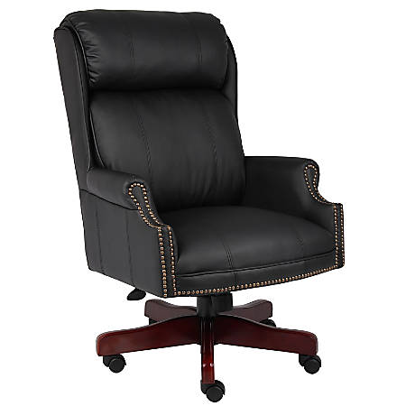"""Boss Office Products Traditional High-Back Executive Chair, 46""""H x 28 1/2""""W x 32 1/2""""D, Mahogany/Black Leather"""