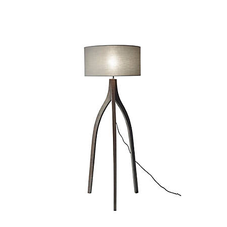 "Adesso® Sherwood Floor Lamp, 63""H, Stone Gray Shade/Black Base"