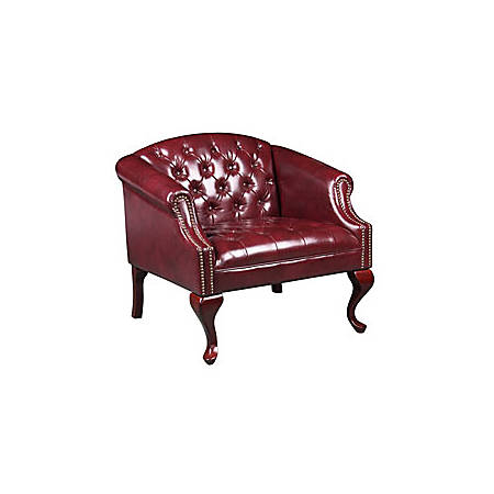"Boss Office Products Traditional Lounge, 32""H x 30 1/2""W x 28""D, Mahogany/Burgundy Vinyl"