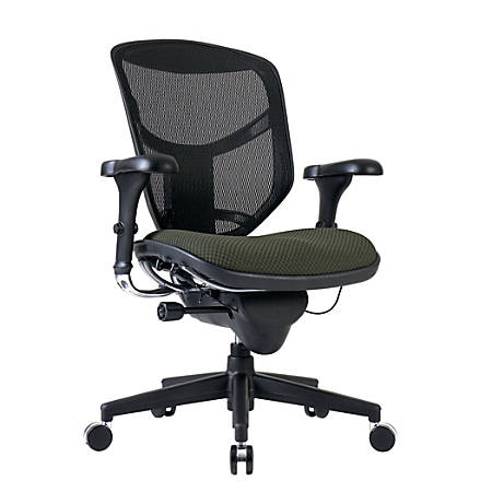 WorkPro® Quantum 9000 Series Ergonomic Mid-Back Mesh/Fabric Chair, Black/Olive