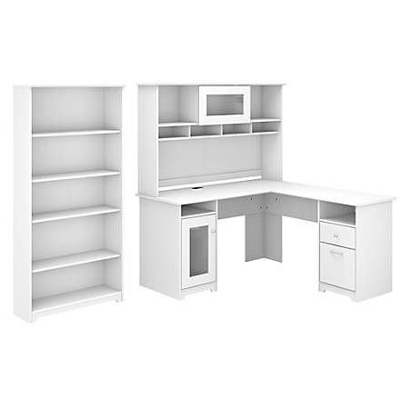 """Bush Furniture Cabot 60""""W L-Shaped Desk With Hutch And 5-Shelf Bookcase, White, Standard Delivery"""