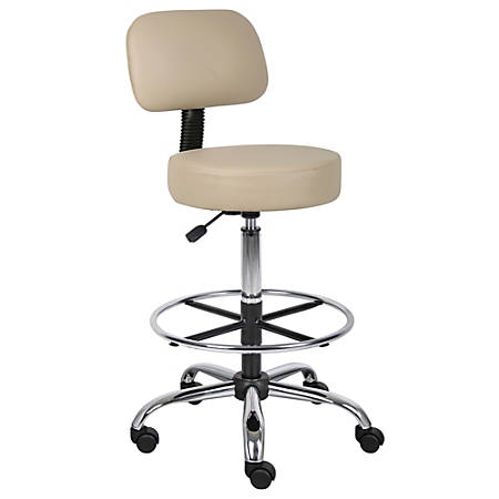 "Boss Medical Stool With Back And Foot Ring, 47""H x 25""W x 25""D, Beige/Chrome"