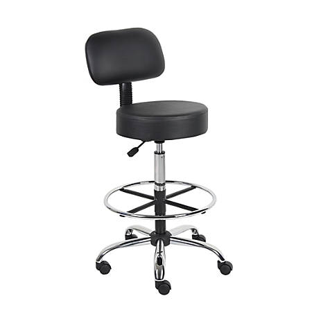 """Boss Medical Stool With Back And Foot Ring And Antimicrobial Vinyl, 47""""H x 25""""W x 25""""D, Black/Chrome"""