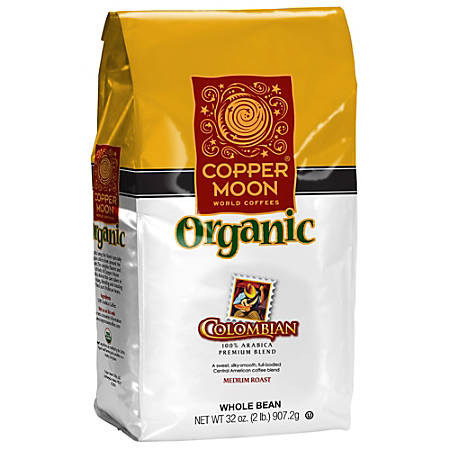 Copper Moon Coffee Whole Bean Coffee, Colombian Organic, 2 Lb Per Bag, Case Of 4 Bags