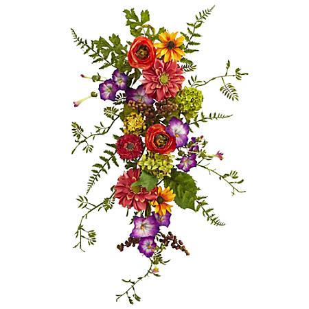 "Nearly Natural Garden Flower Teardrop Wreath, 24""H x 10""W x 5""D, Multicolor"