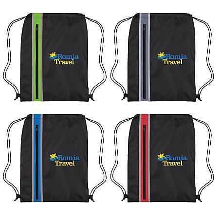 "Vertical Zipper Drawstring Bags, 17 1/2"" x 13 3/8"""