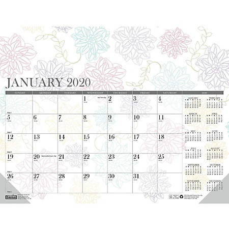 House of Doolittle Whimsical Doodle Monthly Desk Pad - Yes - Monthly - January 2019 till December 2019 - 1 Month Single Page Layout - Desk Pad - Reference Calendar