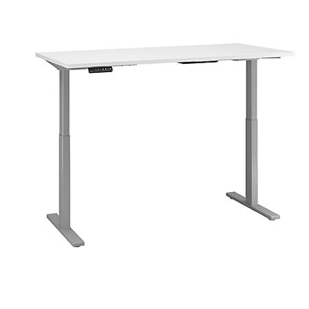 "Bush Business Furniture Move 60 Series 60""W x 24""D Height Adjustable Standing Desk, White/Cool Gray Metallic, Premium Installation"