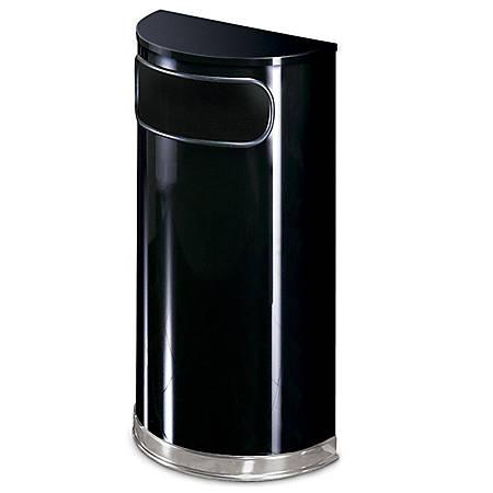 "United Receptacle 30% Recycled Half Round Black/Chrome Receptacle, 9 Gallons, 32"" x 18"" x 9"", Black/Chrome"
