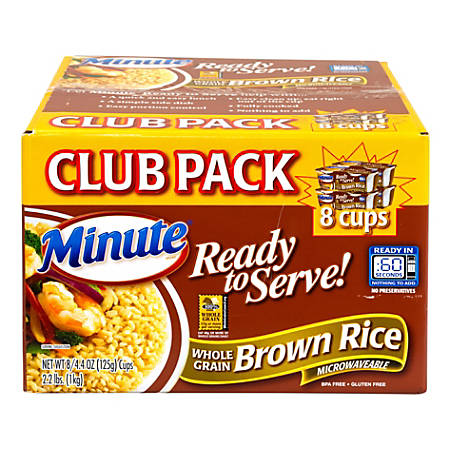 Minute Ready To Serve Brown Rice Microwaveable Cups, 8.8 Oz, Box Of 8 Cups