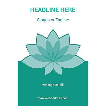 Custom Poster, Teal Spa Flower, Vertical