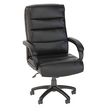 Bush Business Furniture Soft Sense High Back Leather Office Chair, Black, Standard Delivery