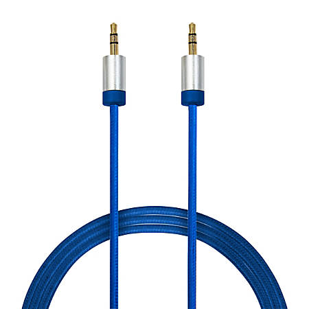 Duracell® 3.5 mm To 3.5 mm Aux Cable, 6', Blue