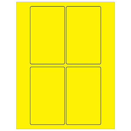 """Office Depot® Brand Labels, LL175YE, Rectangle, 3"""" x 5"""", Fluorescent Yellow, Case Of 400"""