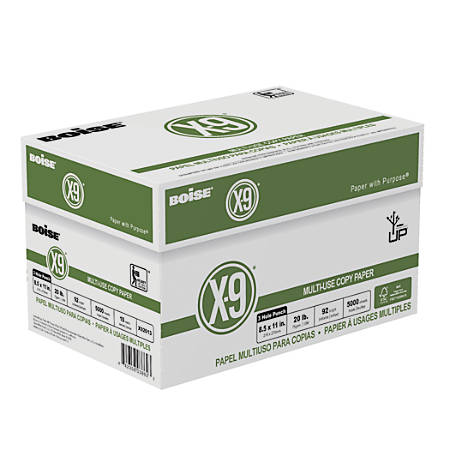 Boise® X-9® Multiuse Copy Paper, Letter Paper Size, 3-Hole Punched, FSC® Certified, 20 Lb, 500 Sheets Per Ream, Case Of 10 Reams