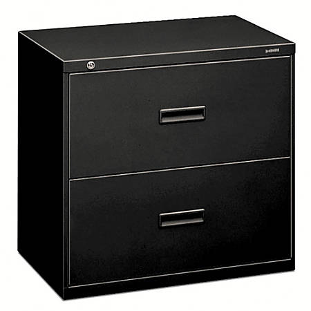 """HON® 400 Series Lateral File, 2 Drawers, 30"""" W, Black"""