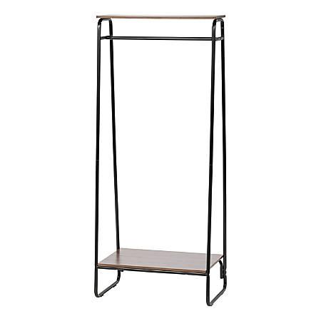 "IRIS Metal Garment Rack With 2 Wooden Shelves, 59-1/2""H x 29-1/4""W x 15-3/4""D, Black/Dark Brown"