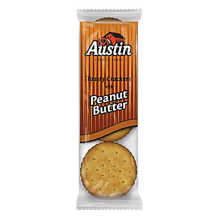 Austin® Toasty Crackers With Peanut Butter, 1.38 Oz, Pack Of 45