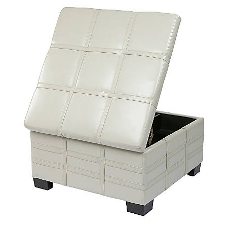 Office Star™ Ave Six® Bonded Leather Detour Strap Storage Ottoman, Cream