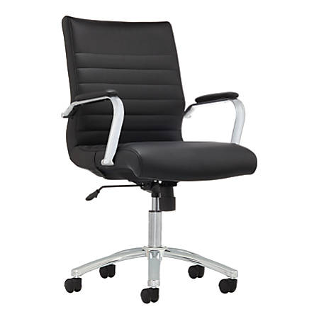 Realspace® Modern Comfort Winsley Bonded Leather Managerial Mid-Back Chair, Black/Silver