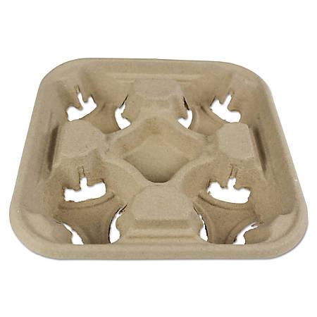"Boardwalk® 4-Cup Trays, 2"" x 8 7/8"", Kraft, Pack Of 300 Trays"