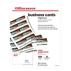 Office depot brand matte business cards 2 x 3 12 white for Office depot links paper templates