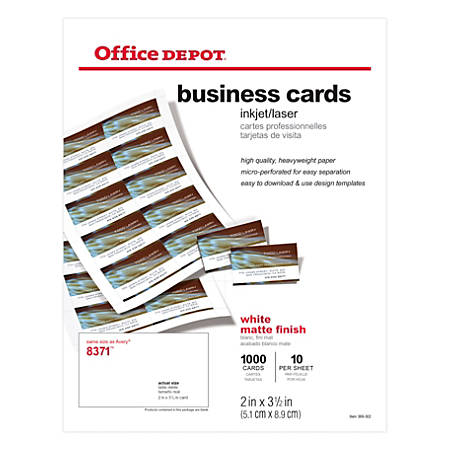 "Office Depot® Brand Matte Business Cards, 2"" x 3 1/2"", White, Pack Of 1,000"