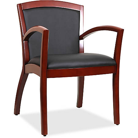 Lorell® Arched Arms Bonded Leather Wood Guest Chair,  Black/Cherry
