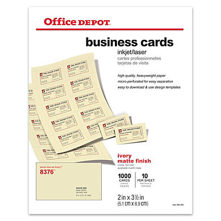 Office depot brand matte business cards 2 x 3 12 ivory pack of 1000 office depot brand matte business cards flashek Image collections
