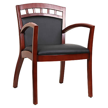 Lorell Crowning Accent Bonded Leather Wood Guest Chair, Black/Cherry