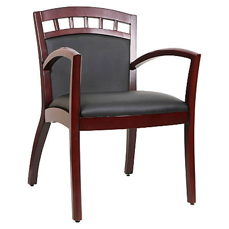 Lorell® Crowning Accent Bonded Leather Wood Guest Chair, Black/Mahogany