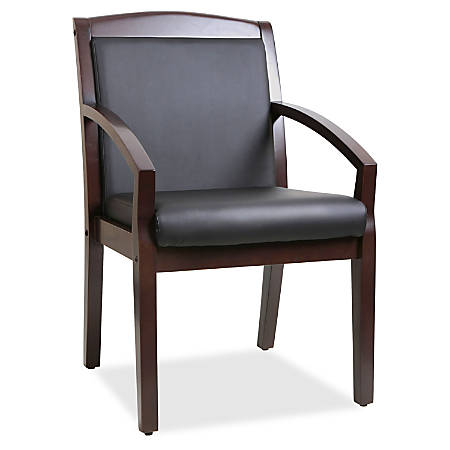 Lorell® Sloping Arms Bonded Leather Wood Guest Chair, Black/Espresso