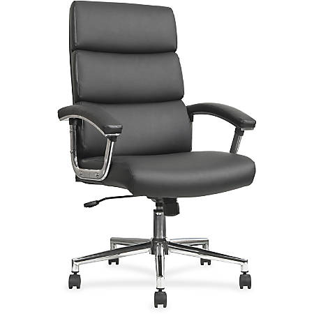 Lorell® Bonded Leather/Chrome High-Back Chair, Black