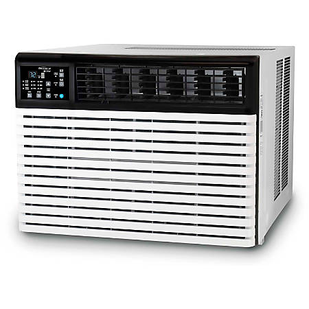 "SoleusAir Window-Mounted Air Conditioner, 15,400 BTU, 115V, 17 3/4""H x 23 5/8""W x 25 7/16""D, White/Black"