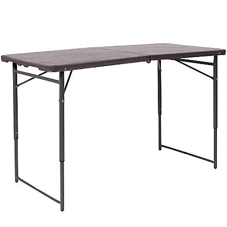"Flash Furniture Plastic Adjustable Bi-Fold Table With Carrying Handle, 29-1/2""H x 23-1/2""W x 48-1/4""D, Brown/Gray"