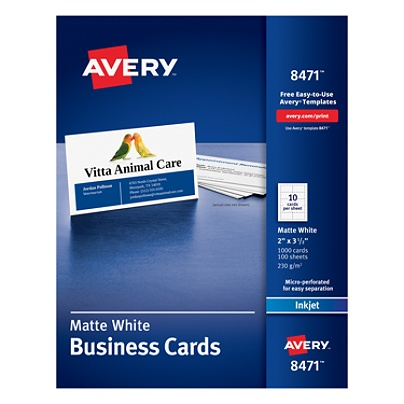 avery inkjet microperforated business cards 2 x 3 12 matte white pack of 1000 by office depot officemax - Business Cards Cheap 12 For 1000