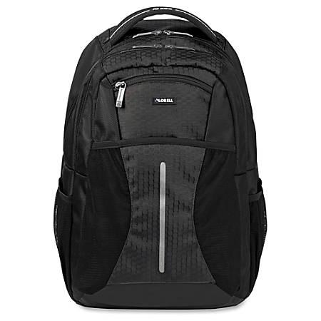 "Lorell Carrying Case (Backpack) for 15.6"" Notebook - Black - Polyester, Mesh, Elastic - Shoulder Strap, Handle"