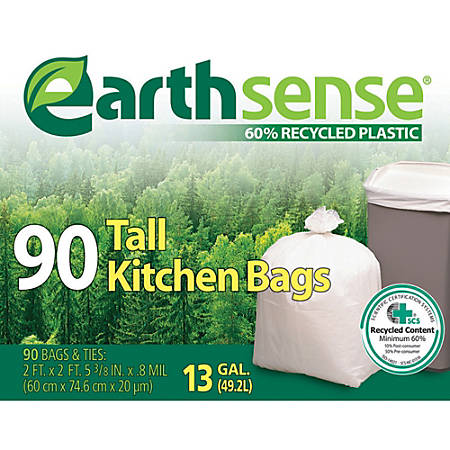 """Webster EarthSense 60% Recycled Kitchen Bags, 13 Gallons, 0.8 Mil Thick, 23 1/2"""" x 29 3/4"""", Box Of 90"""