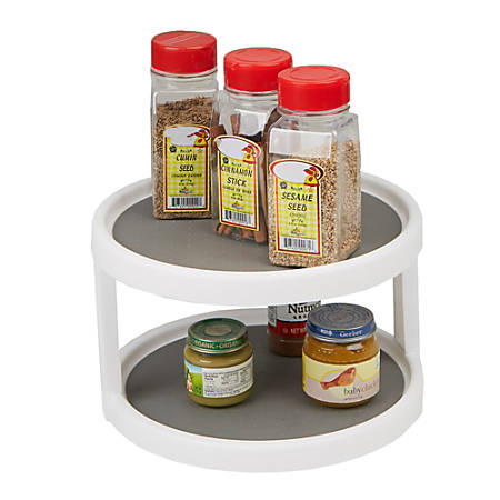 Mind Reader 2-Tier Turntable Kitchen Organizer, Gray