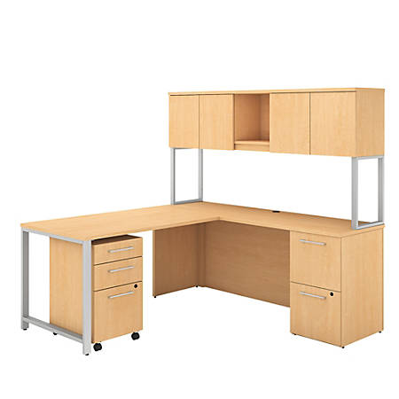 "Bush Business Furniture 400 Series 72""W x 22""D L Shaped Desk And Hutch With 48""W Return And Storage, Natural Maple, Premium Installation"